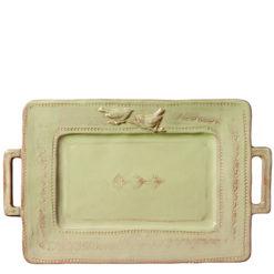 Vietri Bellezza Celadon Handled Rectangular Platter