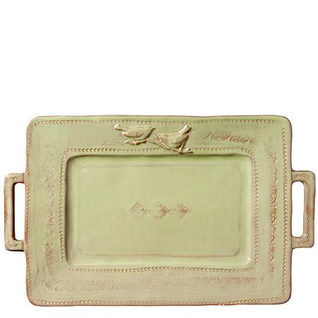 Vietri Bellezza Celadon Handled Rectangular Platter 1