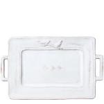 Vietri Bellezza White Handled Rectangular Platter