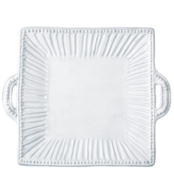Vietri Incanto White Stripe Square Handled Platter