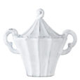 Vietri Incanto White Stripe Sugar Bowl