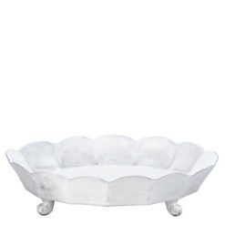 Vietri Incanto White Scallop Large Oval Footed Centerpiece