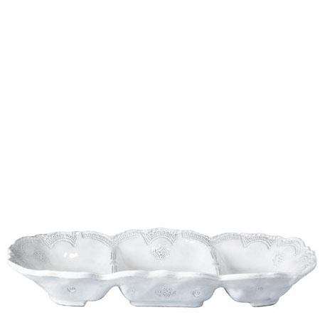 Vietri Incanto White Lace Medium Three Part Server