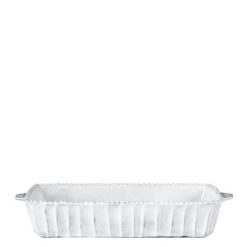 Vietri Incanto White Stripe Medium Rectangular Baking Dish