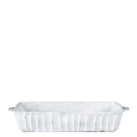 Vietri Incanto White Stripe Medium Rectangular Baking Dish