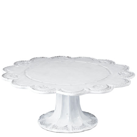 Vietri Incanto White Lace Large Cake Stand