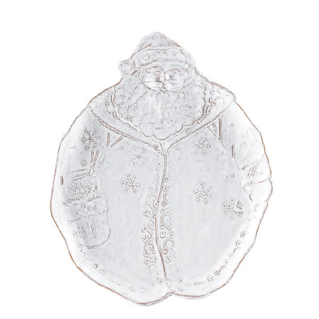 Vietri Bellezza Holiday White Santa Salad Plate
