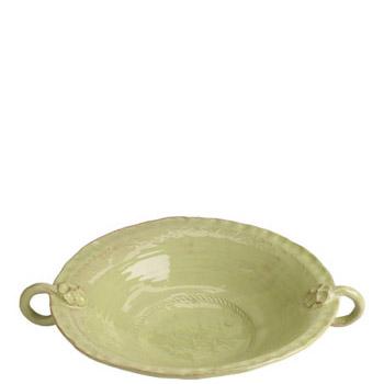 Vietri Bellezza Celadon Large Handled Serving Bowl