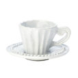 Vietri Incanto White Stripe Espresso Cup and Saucer