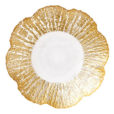 Vietri Ruffle Glass Gold Small Shallow Bowl
