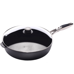 Swiss Diamond Induction Nonstick Saute Pan with Lid, Stainless Steel Handle - 12.5 inch