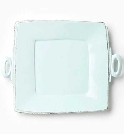 Vietri Lastra Aqua Handled Square Platter  1