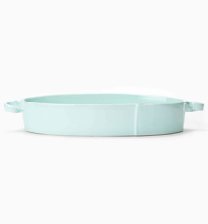 Vietri Lastra Aqua Handled Oval Baker